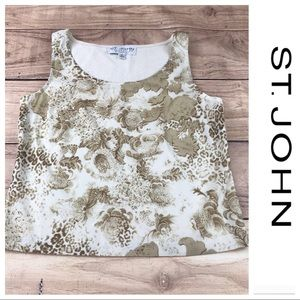 💕SALE💕 St John Cream and Gold Floral Tank Top